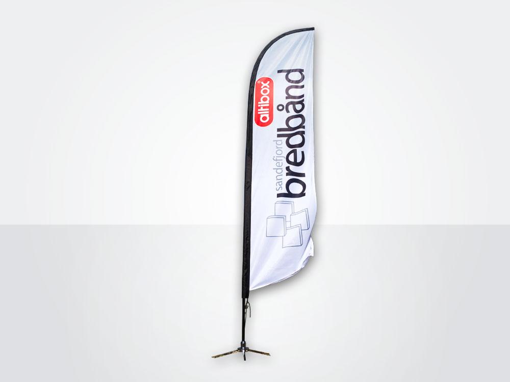 Feather er den mest vanlige formen på strand- eller beachflagg.